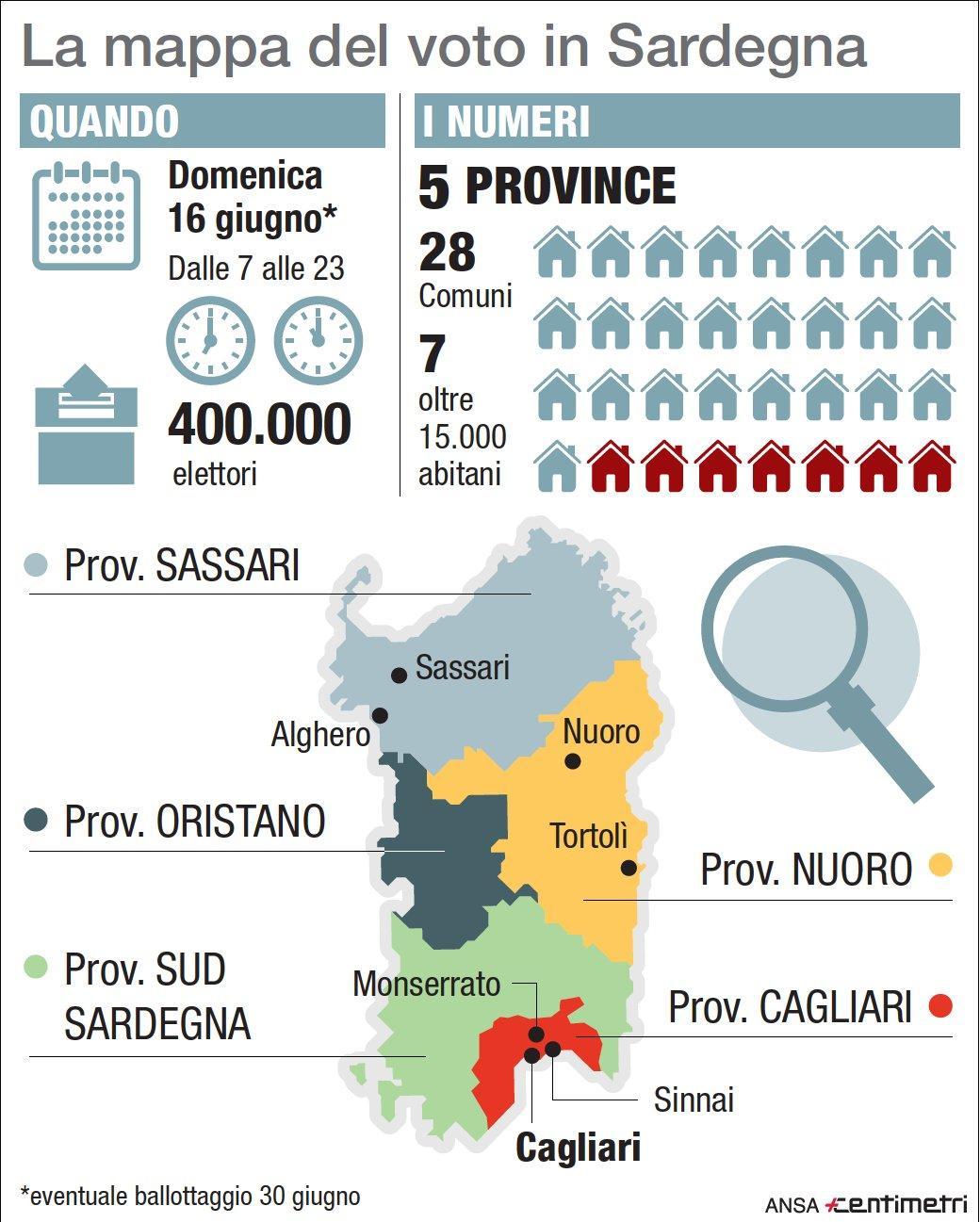 La mappa del voto in Sardegna