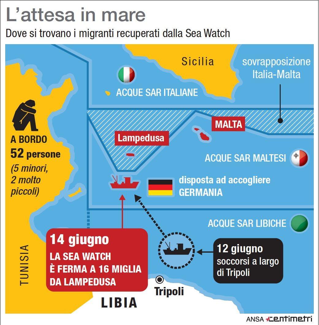 Migranti, l attesa della Sea Watch a poche miglia da Lampedusa