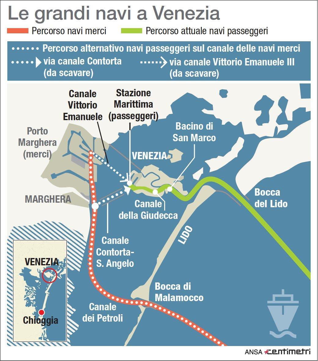 Grandi navi a Venezia, le rotte che seguono