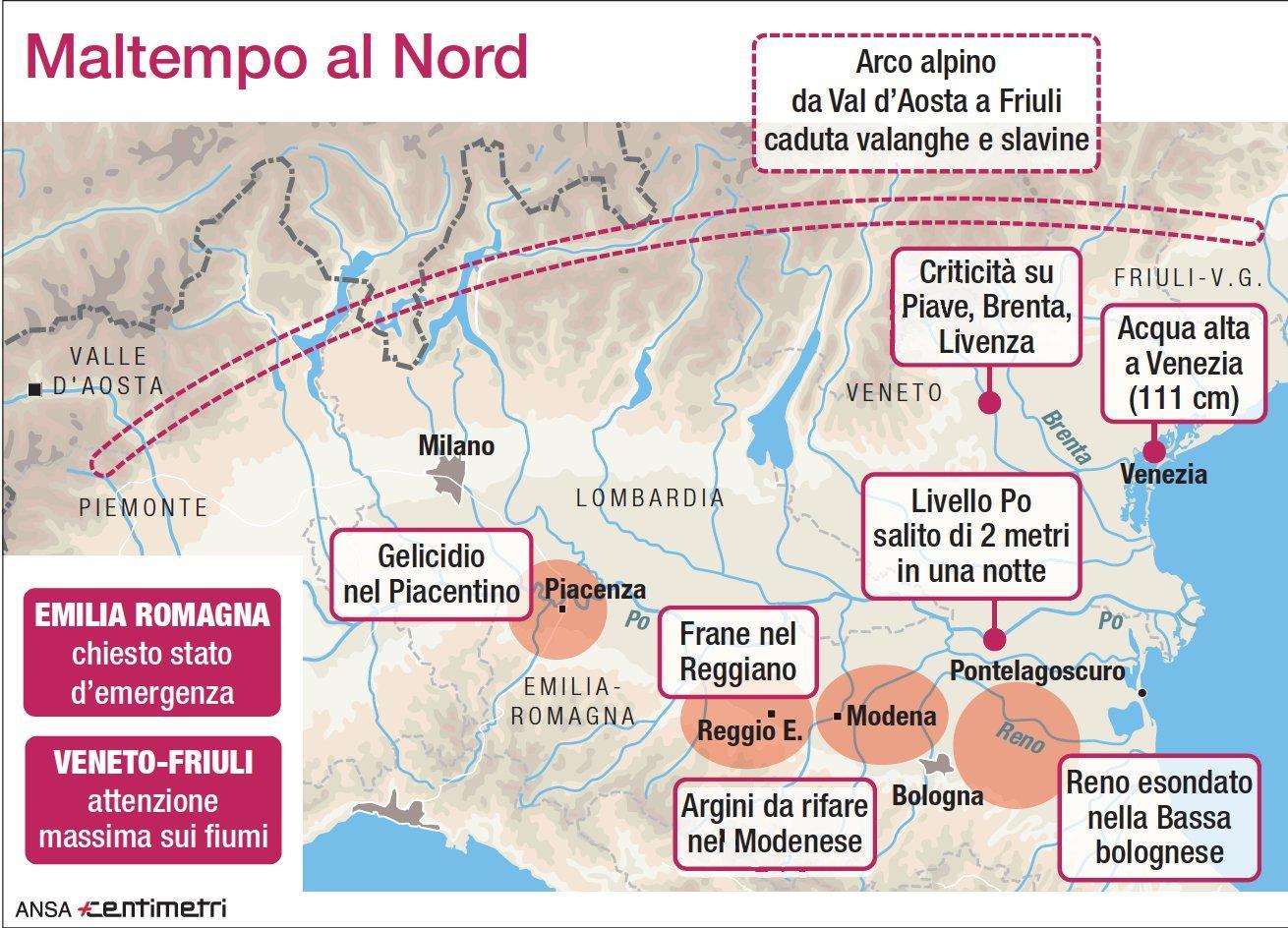 I danni causati dal maltempo nel Nord Italia