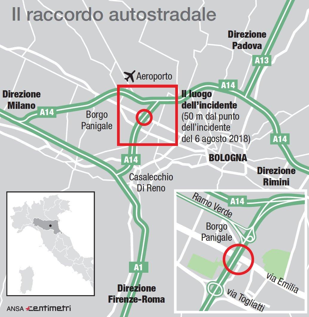 Il raccordo autostradale e il luogo dell incidente