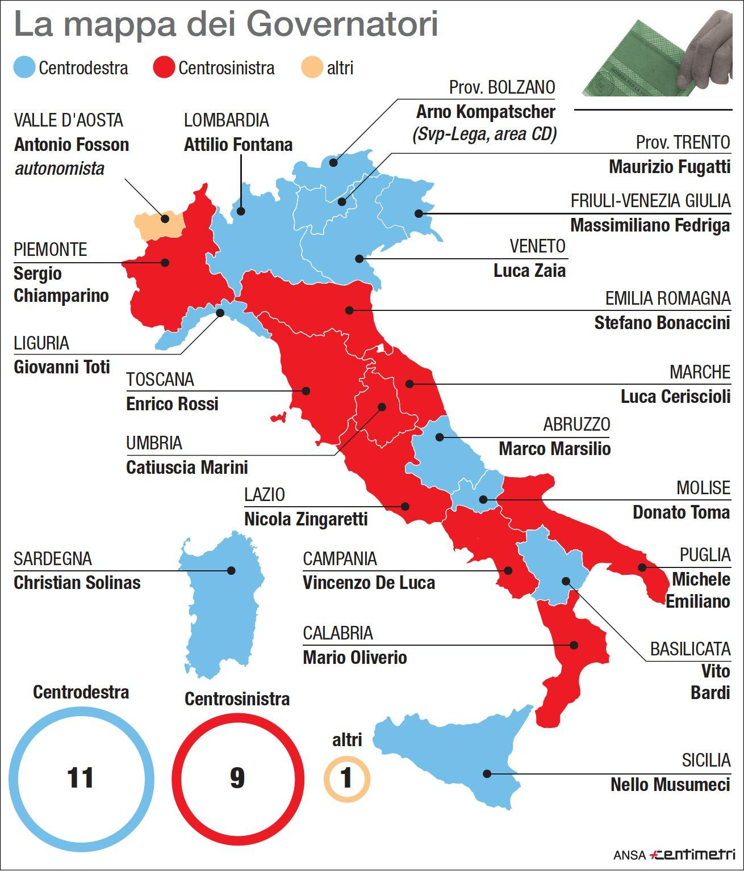 La mappa di tutti gli attuali governatori nelle regioni italiane