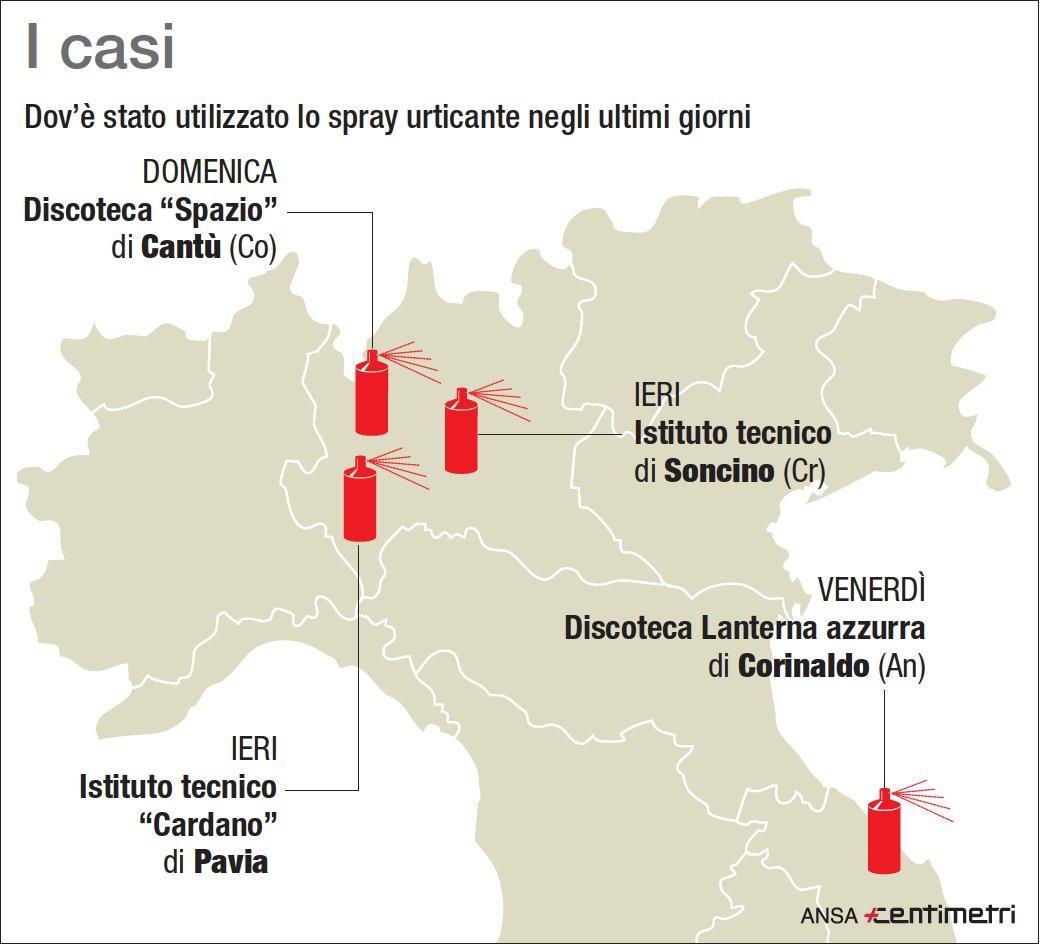 Spray urticante, la mappa degli ultimi casi
