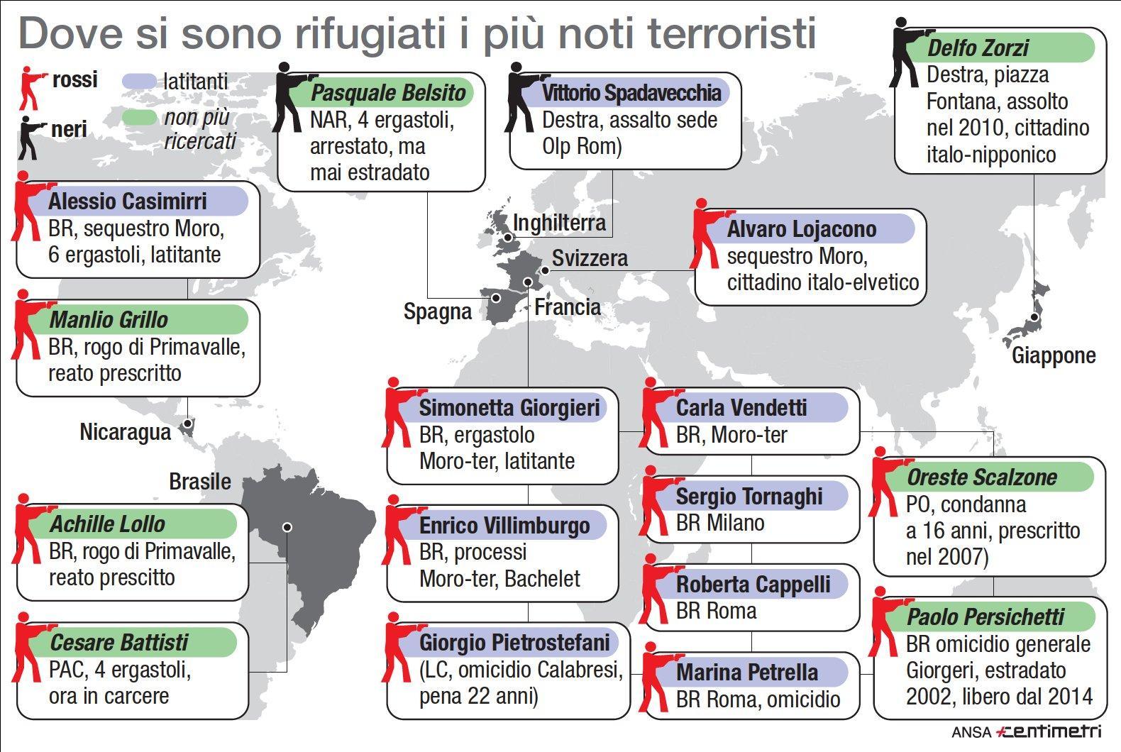 Terrorismo, la mappa dei condannati ancora latitanti