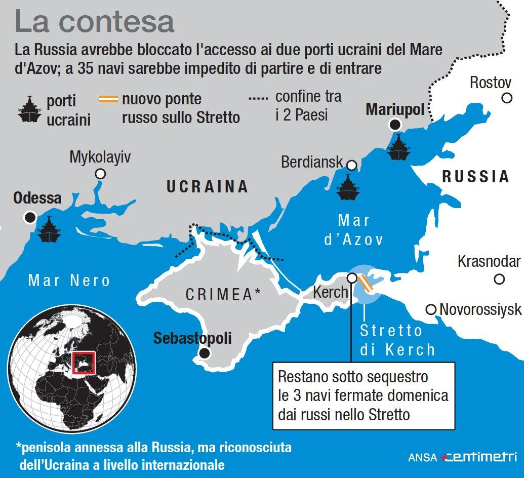 Crimea, l area contesa e il luogo dell incidente navale