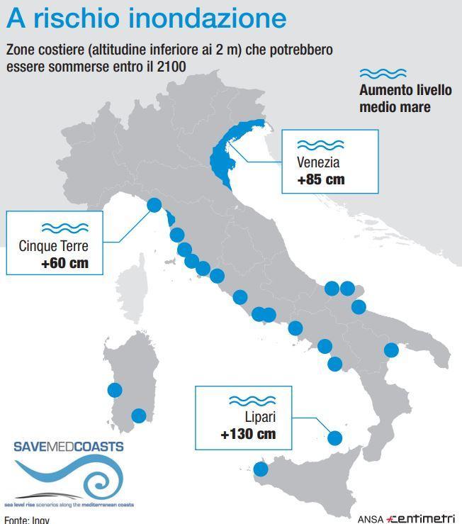 Emergenza clima, le zone a rischio inondazione in Italia