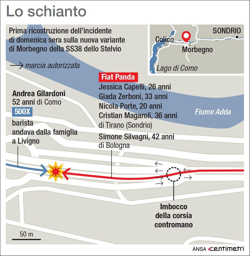 Sondrio, auto contromano sulla Statale dello Stelvio: 6 morti in un frontale