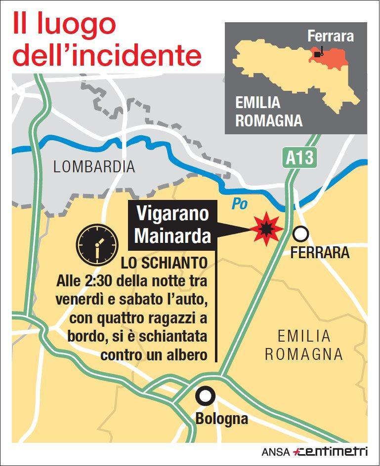 Auto contro albero nel Ferrarese, tre morti: il luogo dell incidente