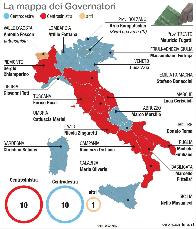 Regioni, la mappa dei governatori