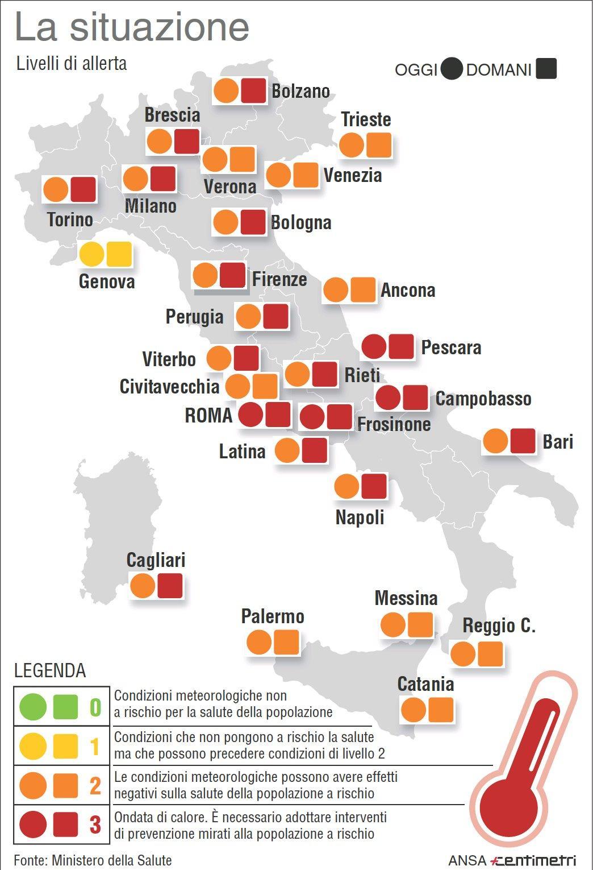 Allerta caldo, le zone a rischio in Italia