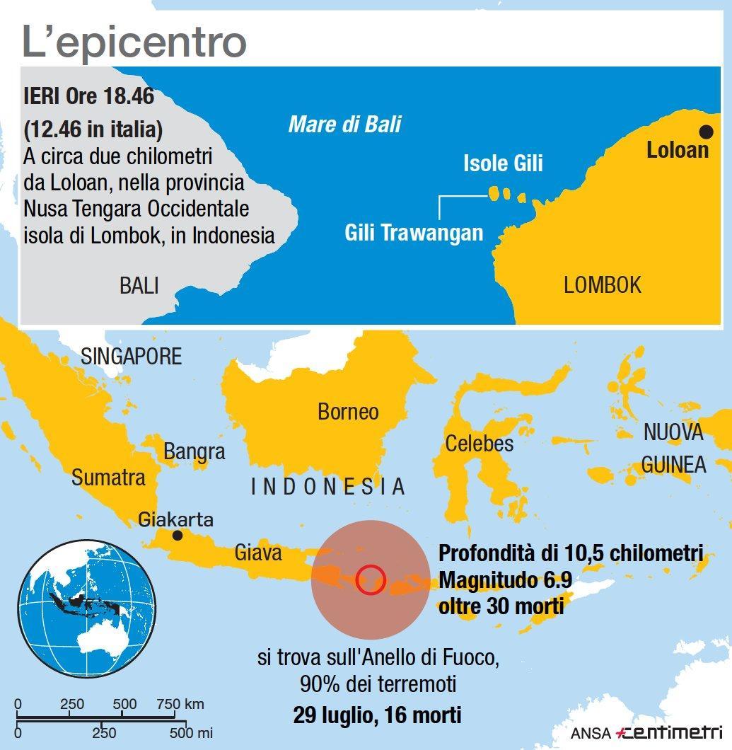 L epicentro del terremoto in Indonesia
