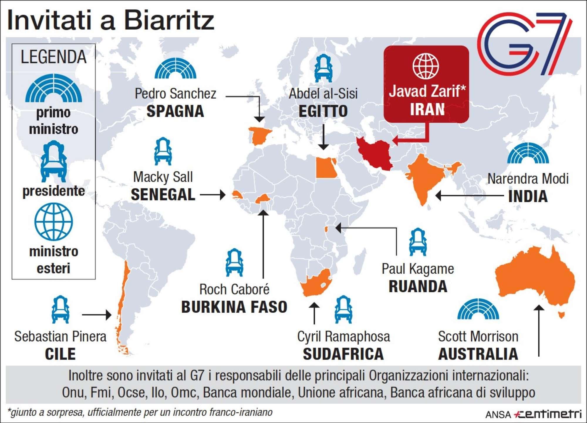 Tutti gli invitati al G7 di Biarritz
