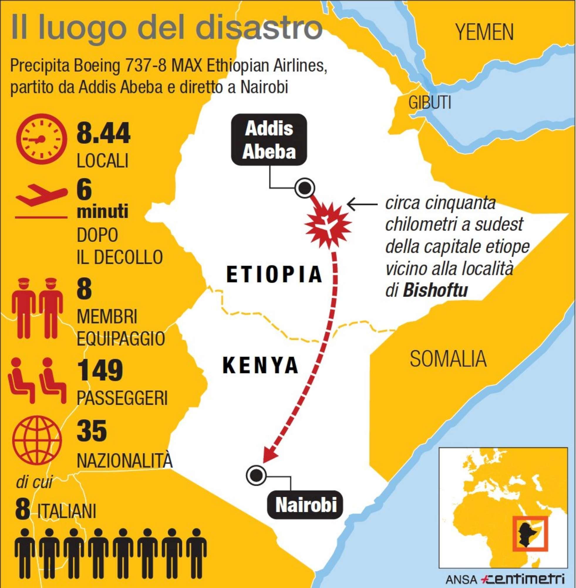 Aereo precipitato in Etiopia: il luogo del disastro