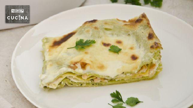 Lasagne with salmon and zucchini