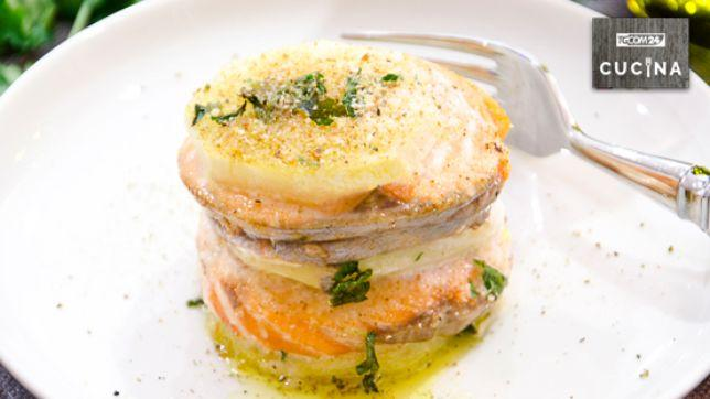 Salmon and potato millefeuille: alternation of goodness